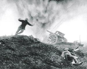 Shell-Exploding-German-Gun-WWI